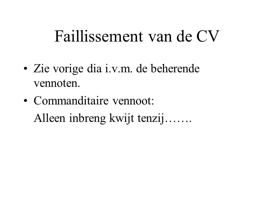 Faillissement van de CV Zie vorige dia i.v.m. de beherende vennoten. Commanditaire vennoot: Alleen inbreng kwijt tenzij…….