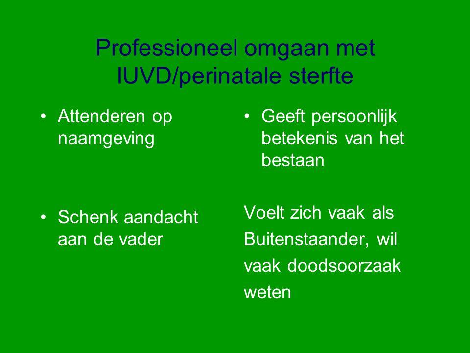 Professioneel omgaan met IUVD/perinatale sterfte Attenderen op naamgeving Schenk aandacht aan de vader Geeft persoonlijk betekenis van het bestaan Voe