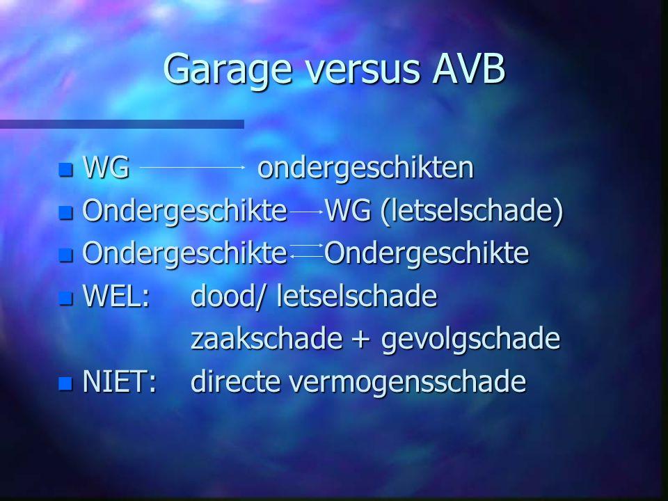 Garage versus AVB n WGondergeschikten n OndergeschikteWG (letselschade) n Ondergeschikte Ondergeschikte n WEL: dood/ letselschade zaakschade + gevolgs