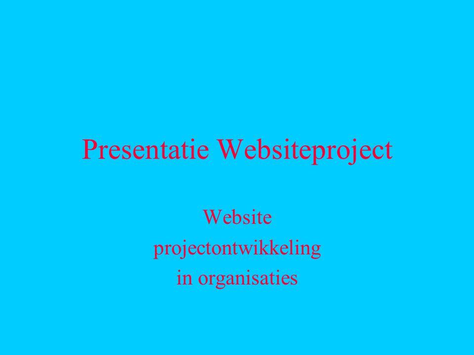 Presentatie Websiteproject Website projectontwikkeling in organisaties