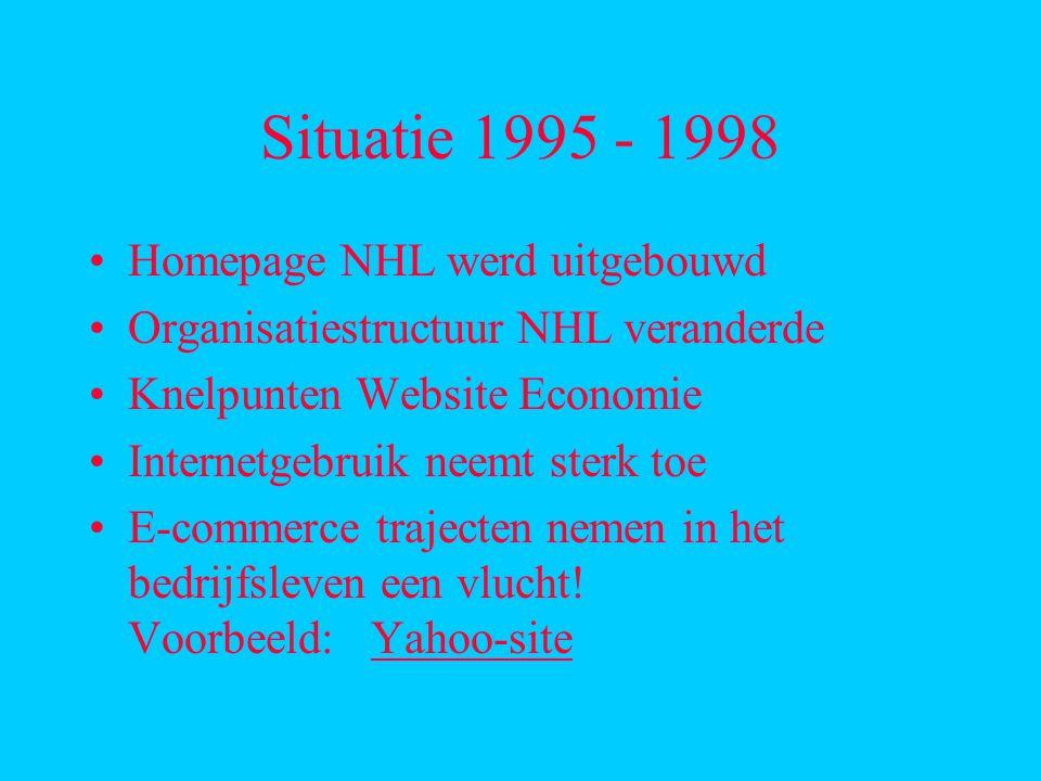 Situatie 1995 - 1998 Homepage NHL werd uitgebouwd Organisatiestructuur NHL veranderde Knelpunten Website Economie Internetgebruik neemt sterk toe E-commerce trajecten nemen in het bedrijfsleven een vlucht.