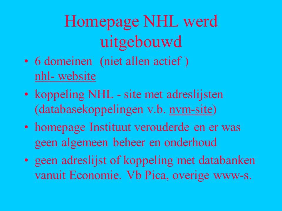 Homepage NHL werd uitgebouwd 6 domeinen (niet allen actief ) nhl- website nhl- website koppeling NHL - site met adreslijsten (databasekoppelingen v.b.
