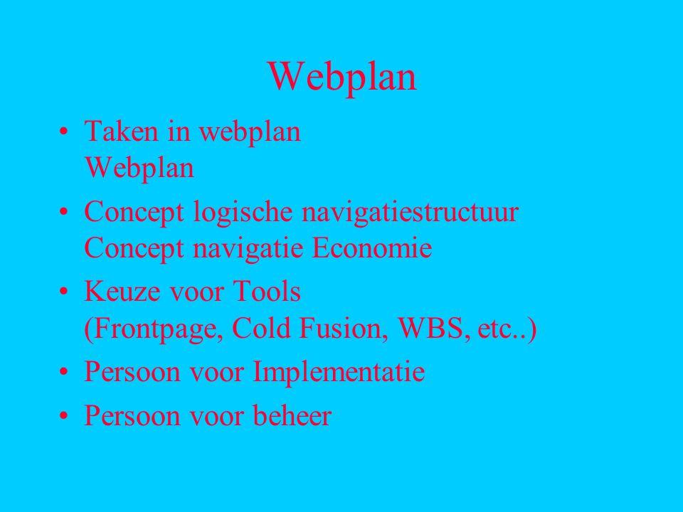 Webplan Taken in webplan Webplan Concept logische navigatiestructuur Concept navigatie Economie Keuze voor Tools (Frontpage, Cold Fusion, WBS, etc..) Persoon voor Implementatie Persoon voor beheer