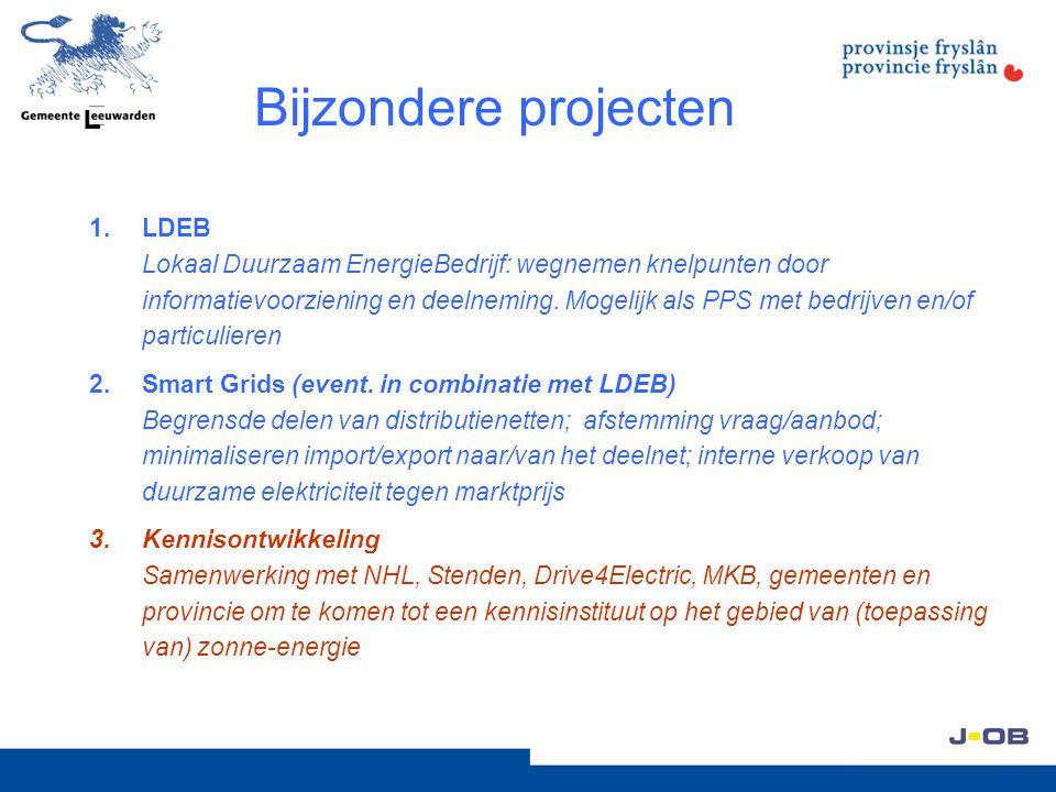 Bijzondere projecten 1.LDEB Lokaal Duurzaam EnergieBedrijf: wegnemen knelpunten door informatievoorziening en deelneming. Mogelijk als PPS met bedrijv