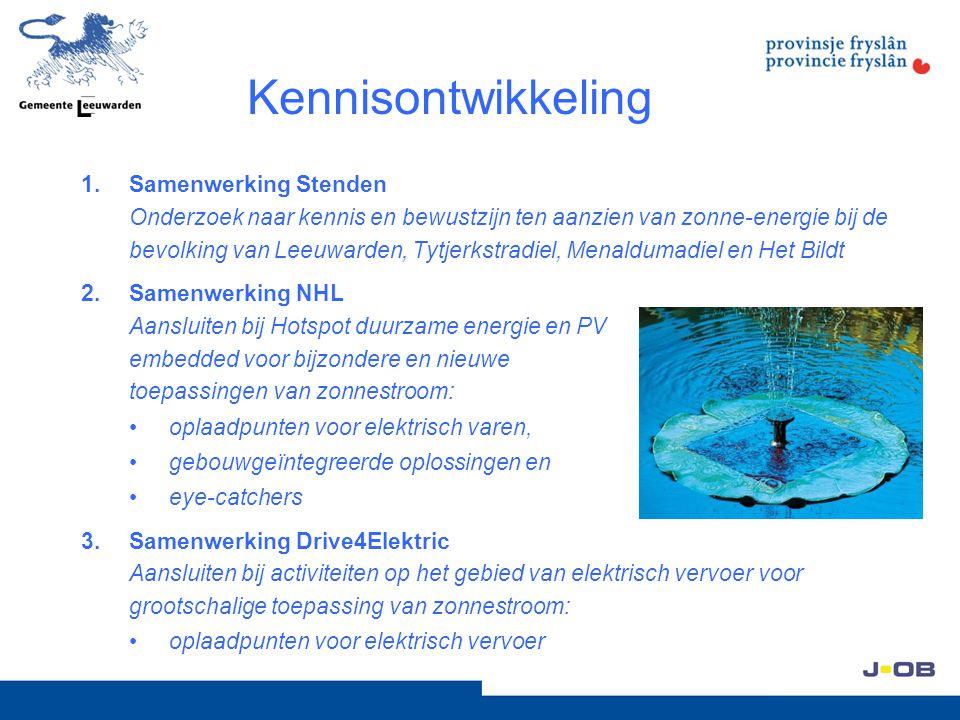 Kennisontwikkeling 1.Samenwerking Stenden Onderzoek naar kennis en bewustzijn ten aanzien van zonne-energie bij de bevolking van Leeuwarden, Tytjerkstradiel, Menaldumadiel en Het Bildt 2.Samenwerking NHL Aansluiten bij Hotspot duurzame energie en PV embedded voor bijzondere en nieuwe toepassingen van zonnestroom: oplaadpunten voor elektrisch varen, gebouwgeïntegreerde oplossingen en eye-catchers 3.Samenwerking Drive4Elektric Aansluiten bij activiteiten op het gebied van elektrisch vervoer voor grootschalige toepassing van zonnestroom: oplaadpunten voor elektrisch vervoer