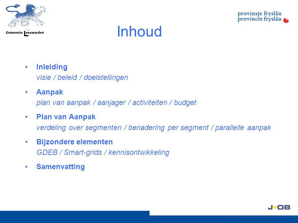 Inhoud Inleiding visie / beleid / doelstellingen Aanpak plan van aanpak / aanjager / activiteiten / budget Plan van Aanpak verdeling over segmenten /