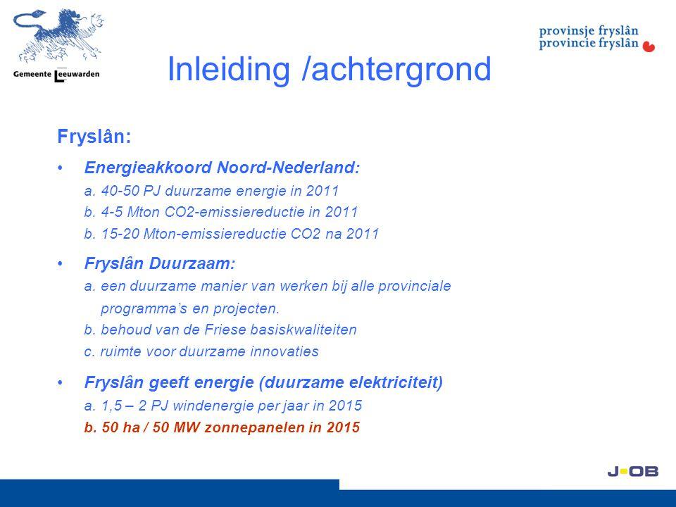 Inleiding /achtergrond Fryslân: Energieakkoord Noord-Nederland: a. 40-50 PJ duurzame energie in 2011 b. 4-5 Mton CO2-emissiereductie in 2011 b. 15-20