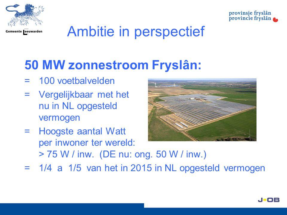Ambitie in perspectief 15 MW zonnestroom Ljouwerd: =5 x Stad van de Zon (grootste urbane zonnestroomproject ter wereld) =30 voetbalvelden =1/4 van nu in NL opgesteld vermogen (=Hoogste aantal Watt per inwoner ter wereld: 150 W / inw.