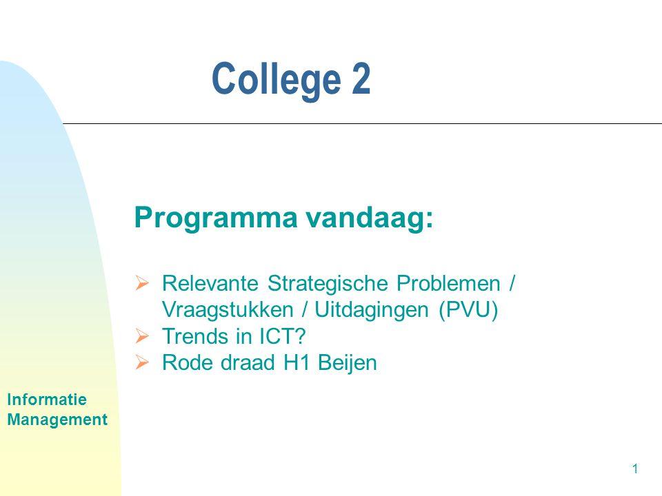 Informatie Management 1 College 2 Programma vandaag:  Relevante Strategische Problemen / Vraagstukken / Uitdagingen (PVU)  Trends in ICT.