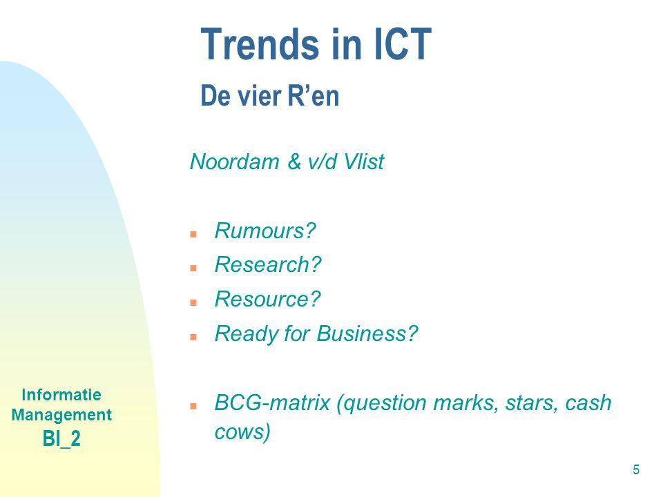 Informatie Management BI_2 5 Trends in ICT De vier R'en Noordam & v/d Vlist n Rumours? n Research? n Resource? n Ready for Business? n BCG-matrix (que