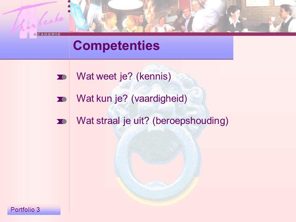 Portfolio 3 Competenties Wat weet je. (kennis) Wat kun je.