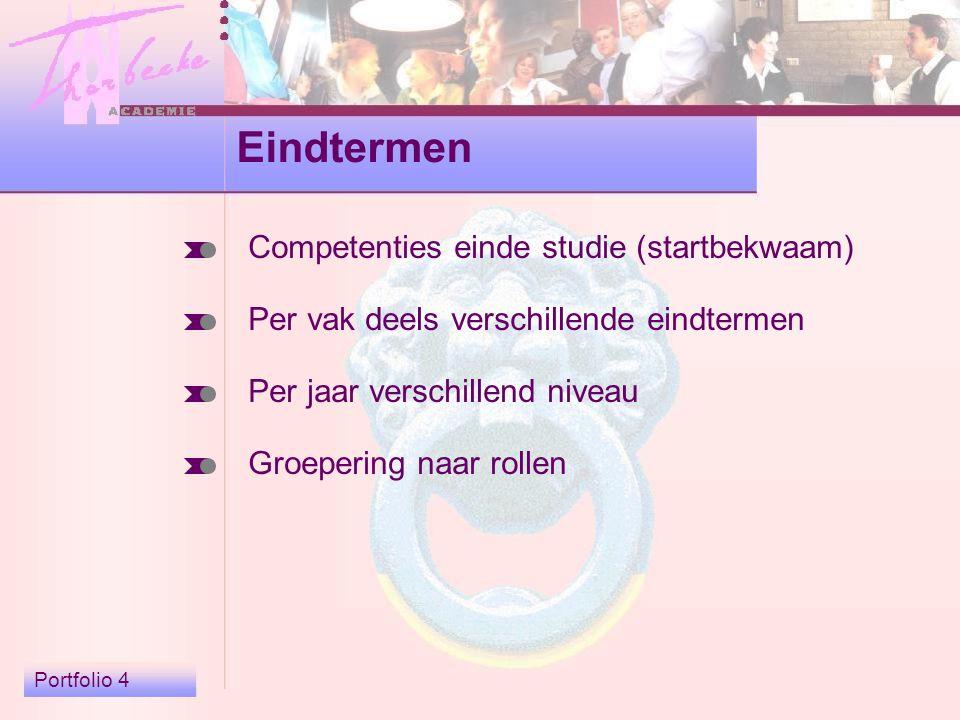 Portfolio 4 Eindtermen Competenties einde studie (startbekwaam) Per vak deels verschillende eindtermen Per jaar verschillend niveau Groepering naar rollen