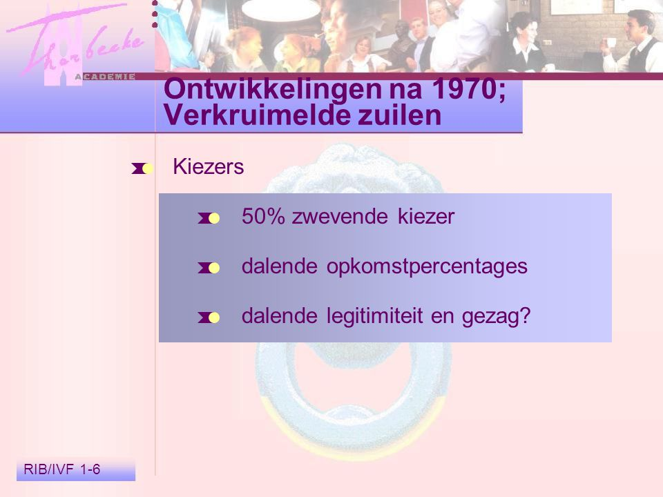 RIB/IVF 1-6 Ontwikkelingen na 1970; Verkruimelde zuilen Kiezers 50% zwevende kiezer dalende opkomstpercentages dalende legitimiteit en gezag