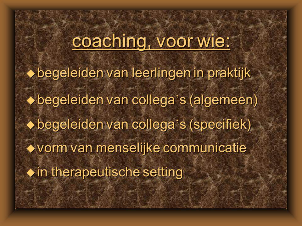coach van nu u hulpmiddel om comfortabel te kunnen bewegen door: –activiteiten –persoonlijke ontwikkeling –levensloop –loopbaan –maatschappij u coach helpt de ander om: –te leren –zichzelf –zichzelf beter te leren kennen –versterken van vermogen tot zelfsturing