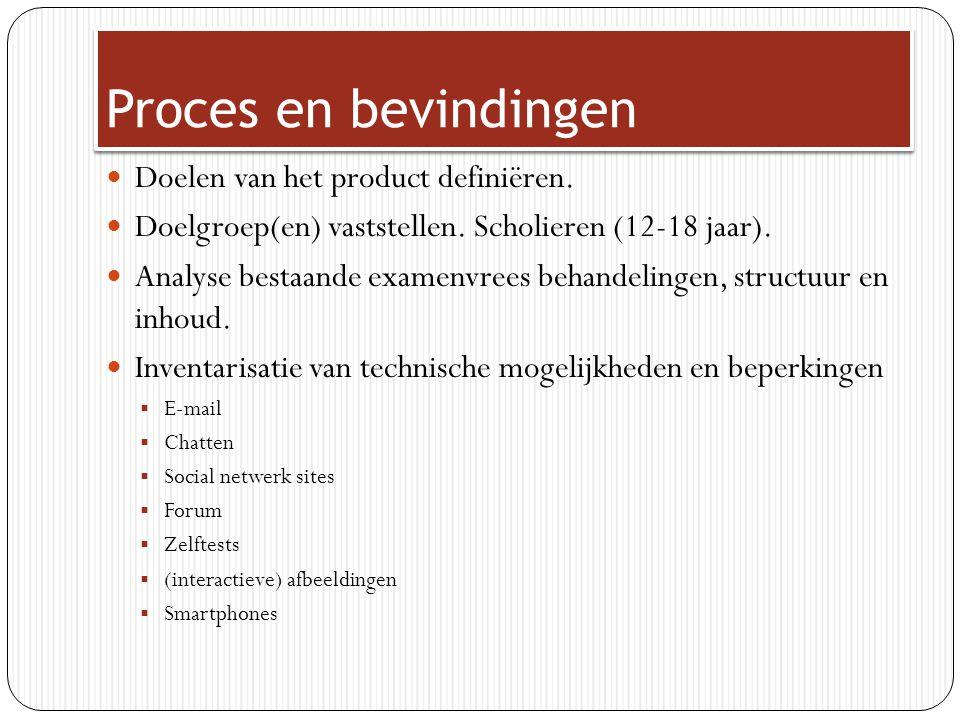 Proces en bevindingen Doelen van het product definiëren. Doelgroep(en) vaststellen. Scholieren (12-18 jaar). Analyse bestaande examenvrees behandeling