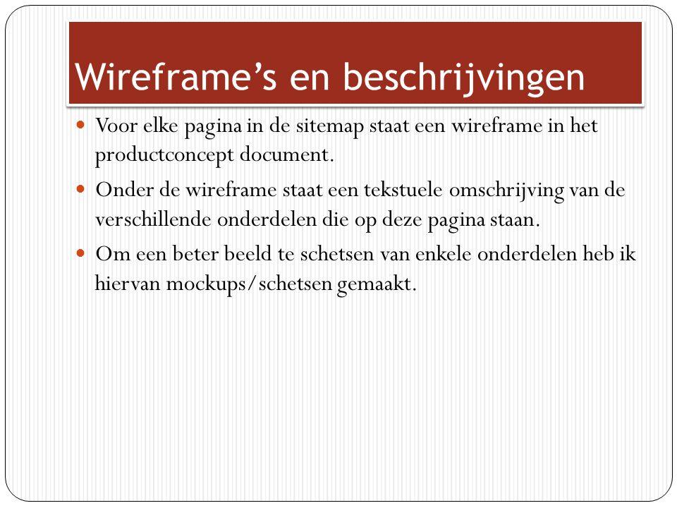 Wireframe's en beschrijvingen Voor elke pagina in de sitemap staat een wireframe in het productconcept document. Onder de wireframe staat een tekstuel