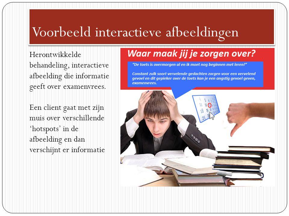 Voorbeeld interactieve afbeeldingen Herontwikkelde behandeling, interactieve afbeelding die informatie geeft over examenvrees. Een client gaat met zij
