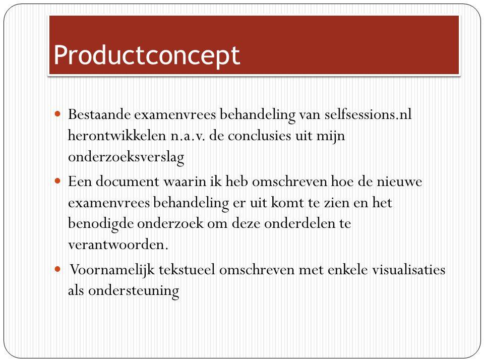 Productconcept Bestaande examenvrees behandeling van selfsessions.nl herontwikkelen n.a.v. de conclusies uit mijn onderzoeksverslag Een document waari