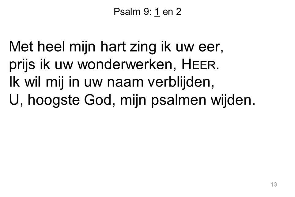 Psalm 9: 1 en 2 Met heel mijn hart zing ik uw eer, prijs ik uw wonderwerken, H EER. Ik wil mij in uw naam verblijden, U, hoogste God, mijn psalmen wij