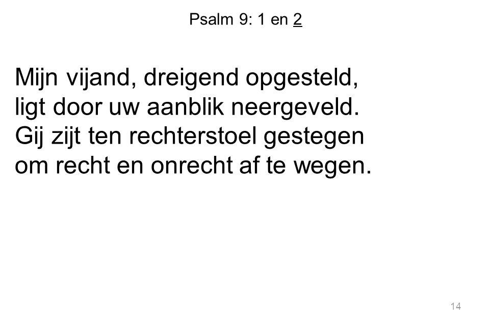 Psalm 9: 1 en 2 Mijn vijand, dreigend opgesteld, ligt door uw aanblik neergeveld. Gij zijt ten rechterstoel gestegen om recht en onrecht af te wegen.