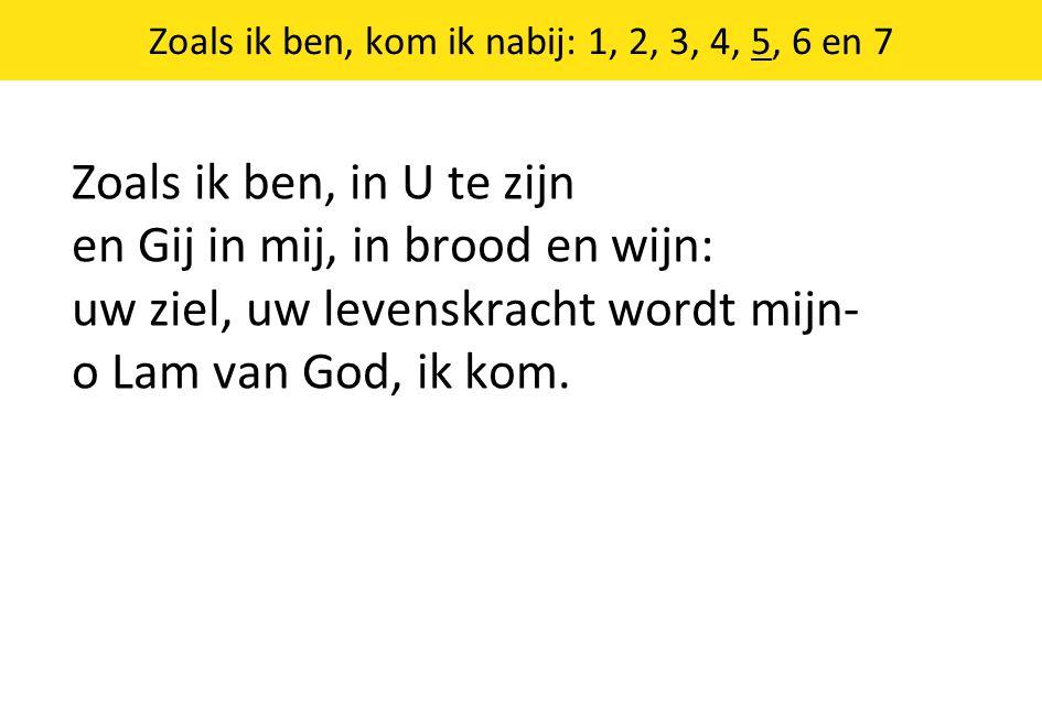 Zoals ik ben, kom ik nabij: 1, 2, 3, 4, 5, 6 en 7 Zoals ik ben, in U te zijn en Gij in mij, in brood en wijn: uw ziel, uw levenskracht wordt mijn- o Lam van God, ik kom.
