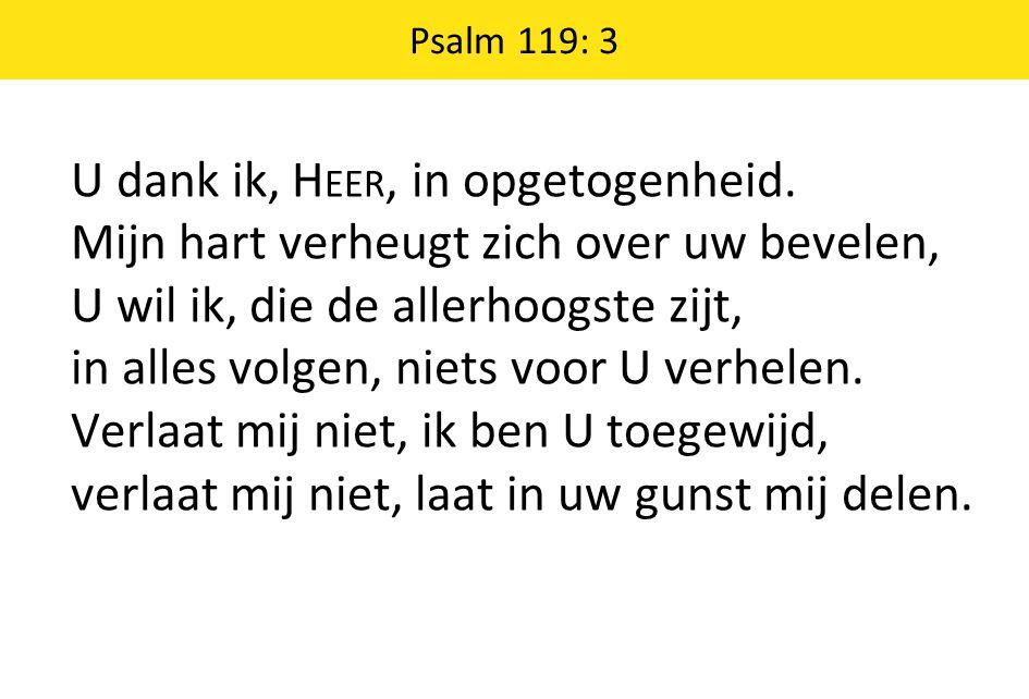 Psalm 119: 3 U dank ik, H EER, in opgetogenheid.