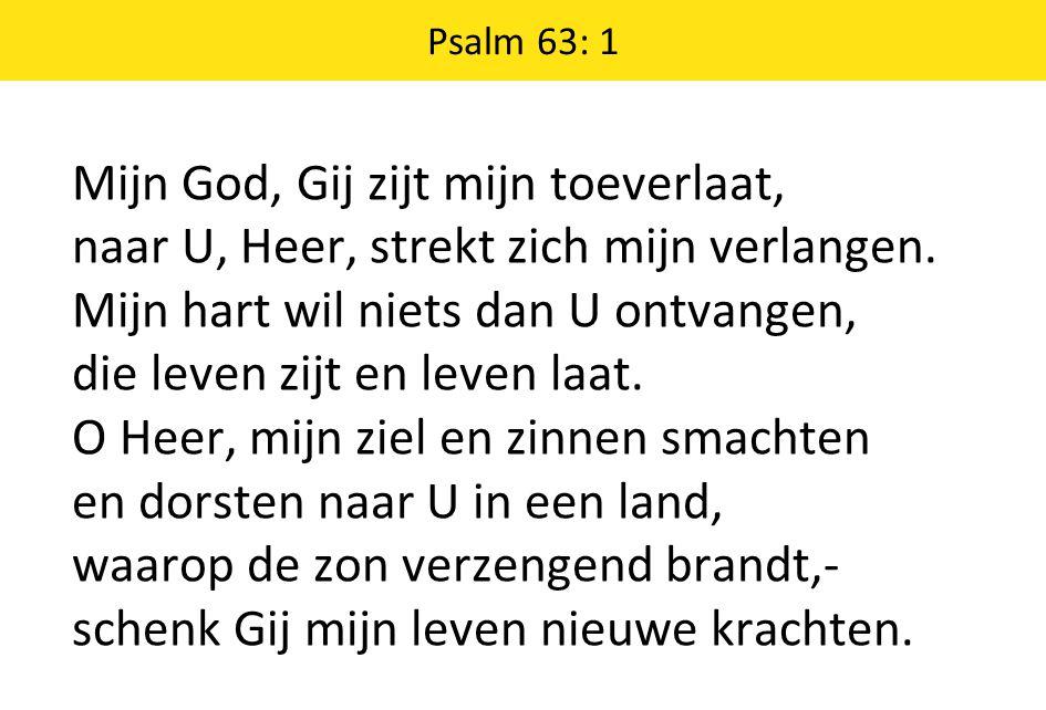 Psalm 63: 1 Mijn God, Gij zijt mijn toeverlaat, naar U, Heer, strekt zich mijn verlangen.
