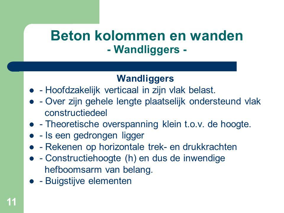 11 Beton kolommen en wanden - Wandliggers - Wandliggers - Hoofdzakelijk verticaal in zijn vlak belast. - Over zijn gehele lengte plaatselijk ondersteu