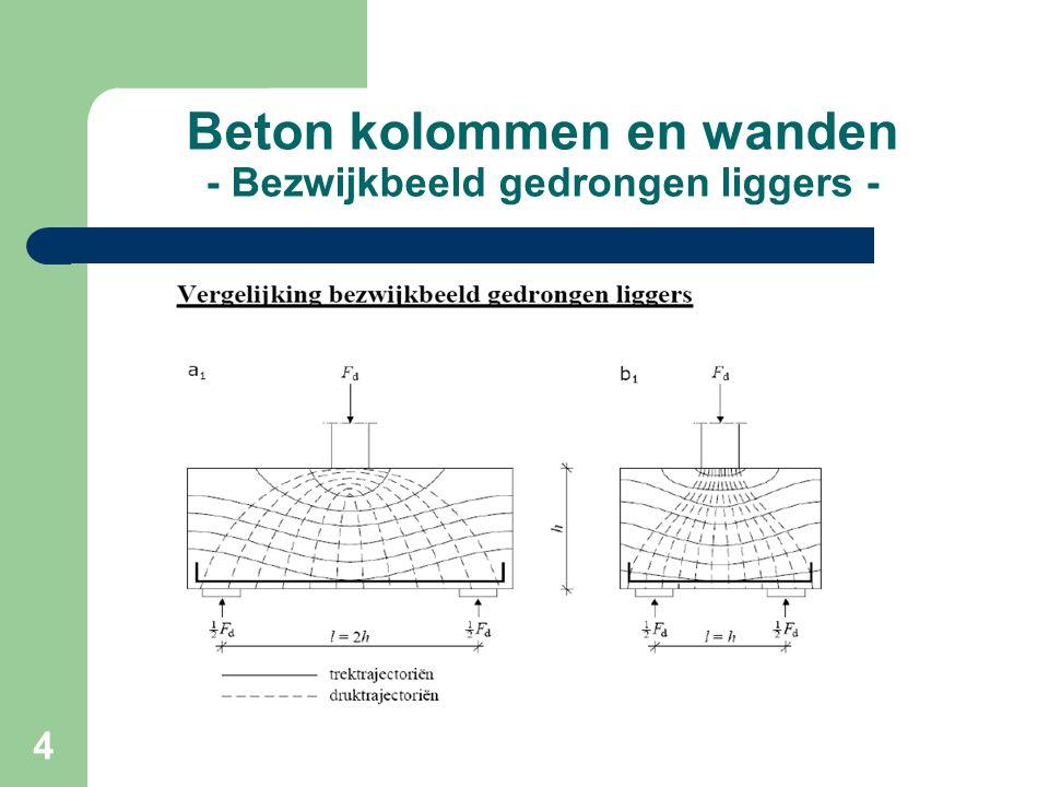 15 Beton kolommen en wanden - Minimum wapening wandligger - Minimumwapening Het minimaal percentage bij wanden is over het algemeen veel groter dan rekenkundig benodigd, maak dan gebruik van de tweede voorwaarde: A smin = 1.25 * (Md / fs * z )
