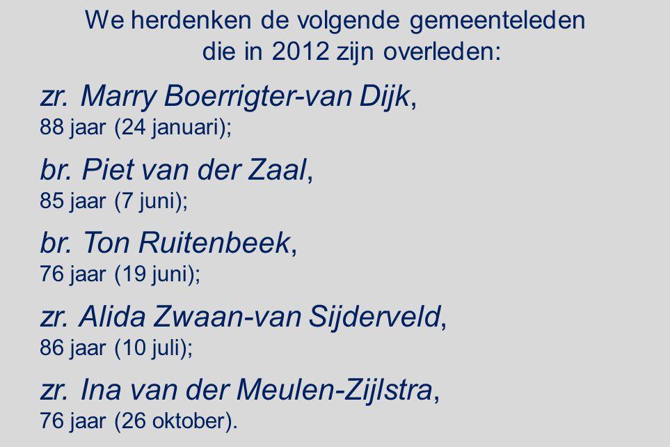 We herdenken de volgende gemeenteleden die in 2012 zijn overleden: zr. Marry Boerrigter-van Dijk, 88 jaar (24 januari); br. Piet van der Zaal, 85 jaar