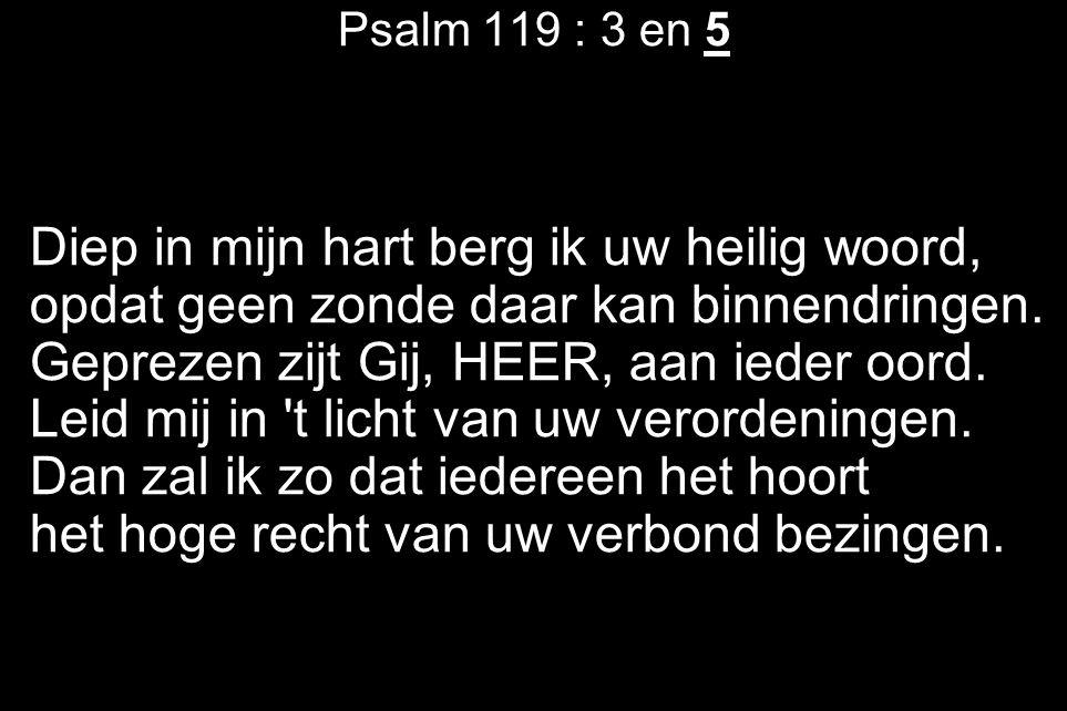 Psalm 119 : 3 en 5 Diep in mijn hart berg ik uw heilig woord, opdat geen zonde daar kan binnendringen.
