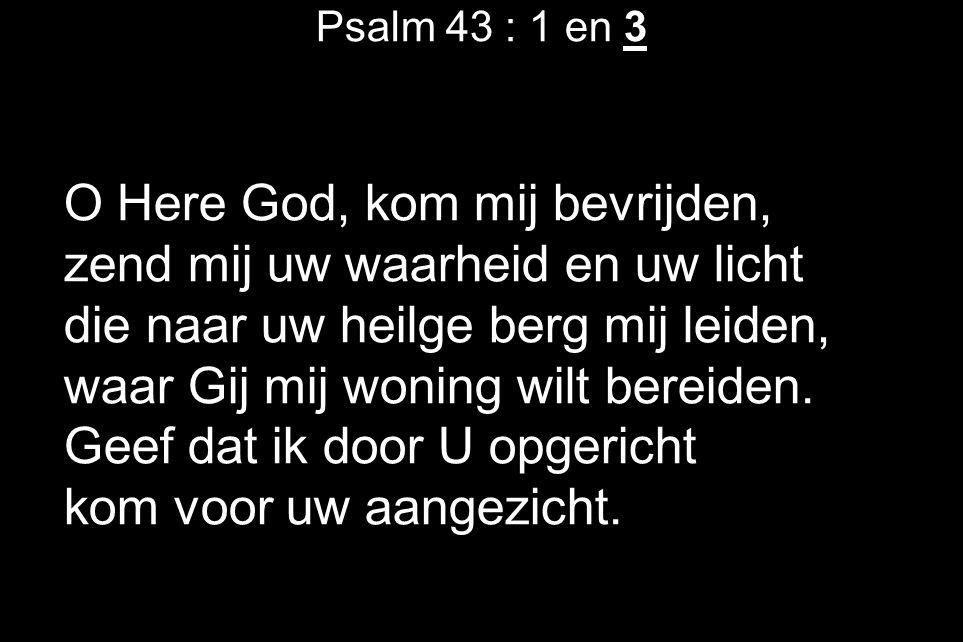 Psalm 43 : 1 en 3 O Here God, kom mij bevrijden, zend mij uw waarheid en uw licht die naar uw heilge berg mij leiden, waar Gij mij woning wilt bereiden.