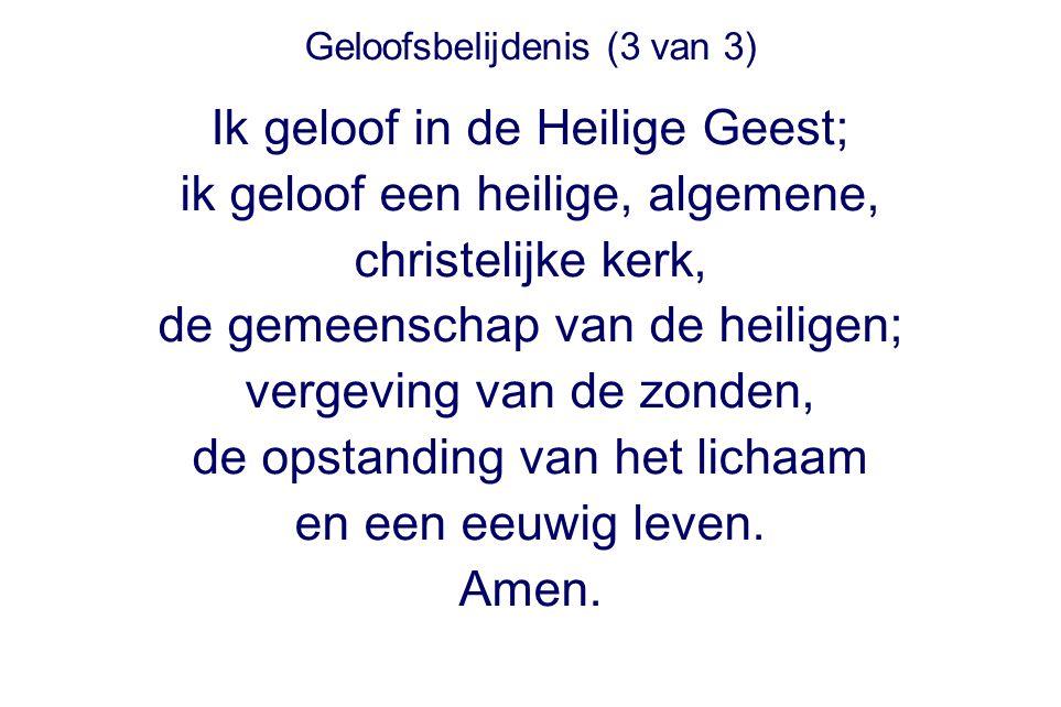 Geloofsbelijdenis (3 van 3) Ik geloof in de Heilige Geest; ik geloof een heilige, algemene, christelijke kerk, de gemeenschap van de heiligen; vergevi