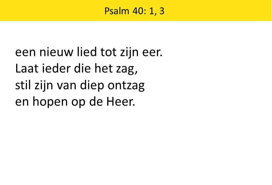 een nieuw lied tot zijn eer. Laat ieder die het zag, stil zijn van diep ontzag en hopen op de Heer. Psalm 40: 1, 3