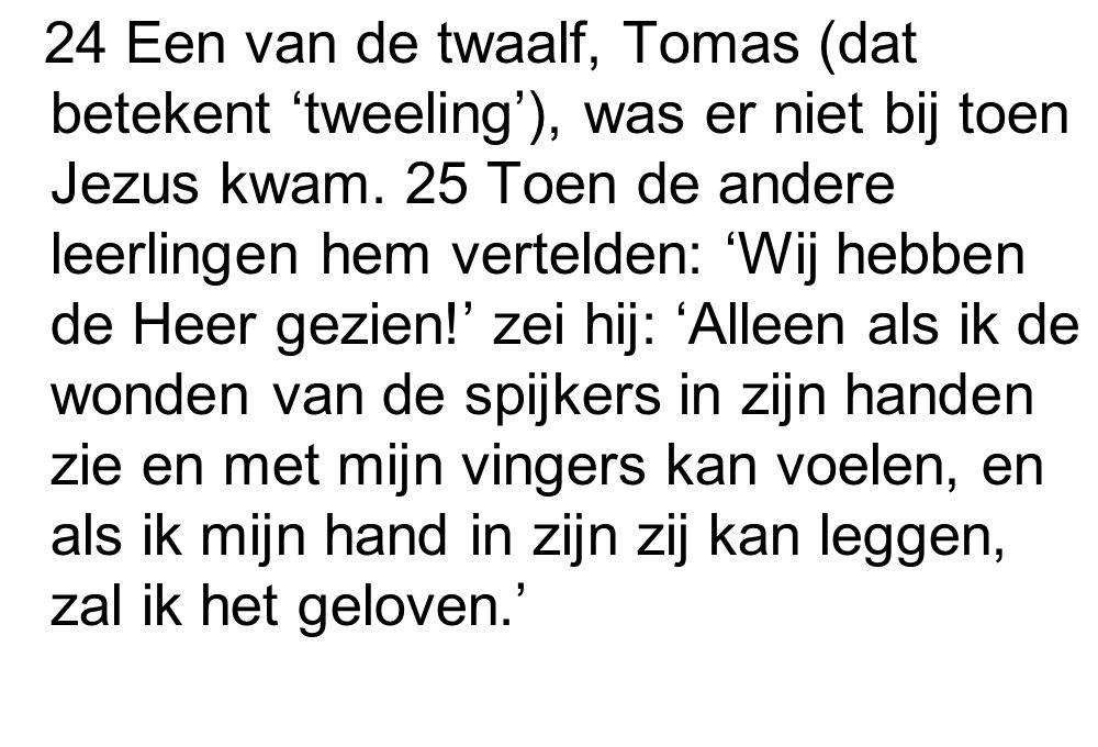 24 Een van de twaalf, Tomas (dat betekent 'tweeling'), was er niet bij toen Jezus kwam. 25 Toen de andere leerlingen hem vertelden: 'Wij hebben de Hee
