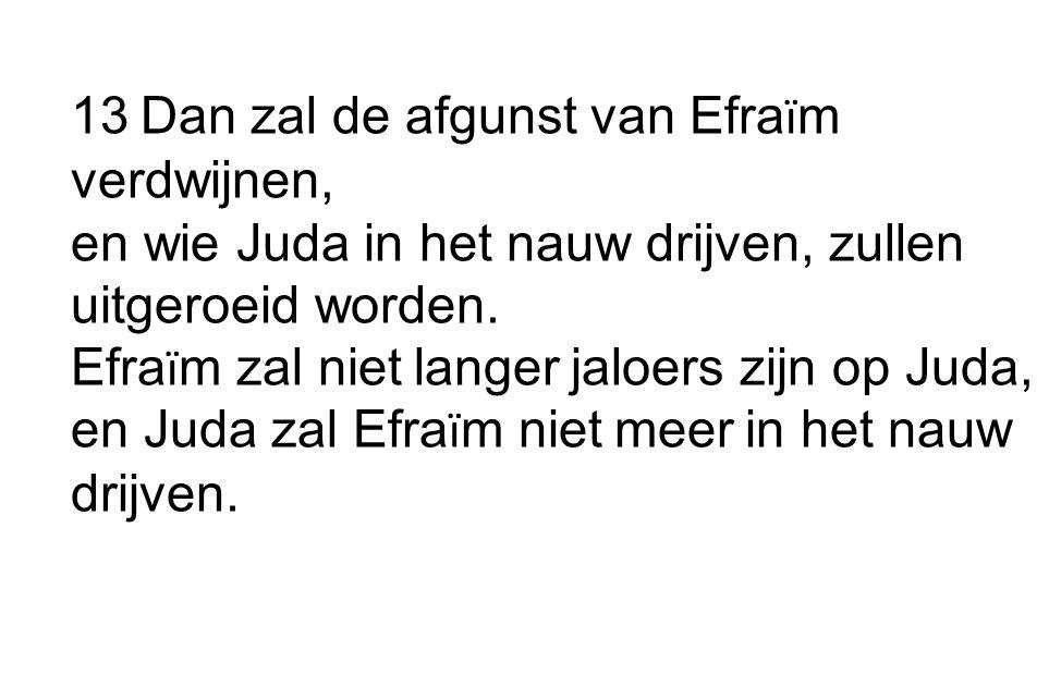 13 Dan zal de afgunst van Efra ï m verdwijnen, en wie Juda in het nauw drijven, zullen uitgeroeid worden.