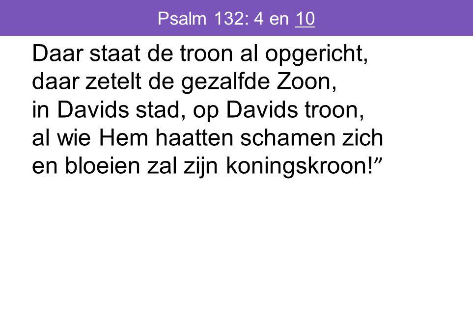 Psalm 132: 4 en 10 Daar staat de troon al opgericht, daar zetelt de gezalfde Zoon, in Davids stad, op Davids troon, al wie Hem haatten schamen zich en bloeien zal zijn koningskroon.