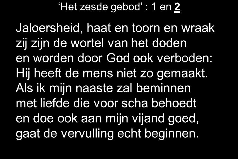 'Het zesde gebod' : 1 en 2 Jaloersheid, haat en toorn en wraak zij zijn de wortel van het doden en worden door God ook verboden: Hij heeft de mens nie