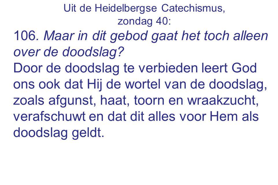 Uit de Heidelbergse Catechismus, zondag 40: 106. Maar in dit gebod gaat het toch alleen over de doodslag? Door de doodslag te verbieden leert God ons