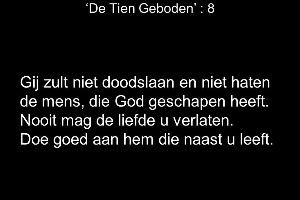'De Tien Geboden' : 8 Gij zult niet doodslaan en niet haten de mens, die God geschapen heeft. Nooit mag de liefde u verlaten. Doe goed aan hem die naa