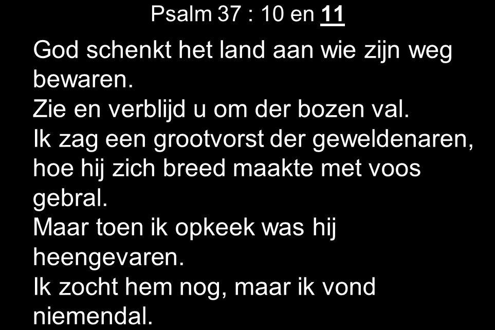 Psalm 37 : 10 en 11 God schenkt het land aan wie zijn weg bewaren. Zie en verblijd u om der bozen val. Ik zag een grootvorst der geweldenaren, hoe hij