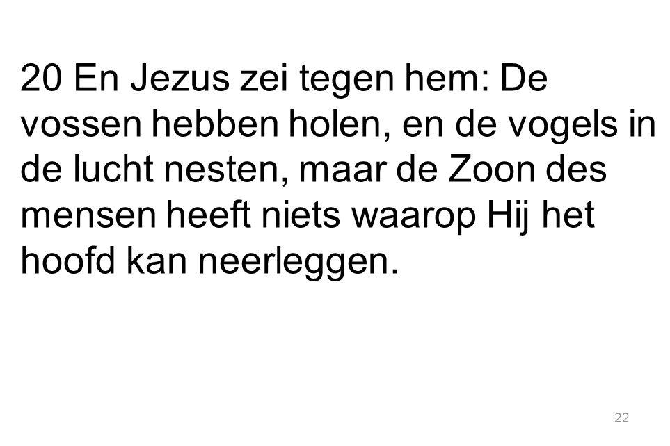 22 20 En Jezus zei tegen hem: De vossen hebben holen, en de vogels in de lucht nesten, maar de Zoon des mensen heeft niets waarop Hij het hoofd kan ne