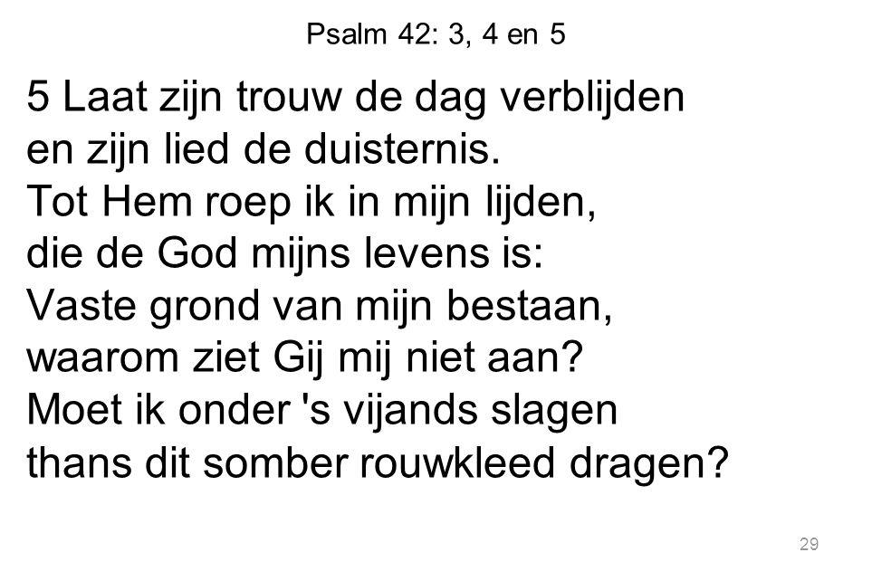 Psalm 42: 3, 4 en 5 5 Laat zijn trouw de dag verblijden en zijn lied de duisternis. Tot Hem roep ik in mijn lijden, die de God mijns levens is: Vaste
