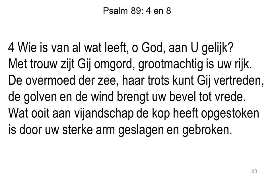 Psalm 89: 4 en 8 4 Wie is van al wat leeft, o God, aan U gelijk? Met trouw zijt Gij omgord, grootmachtig is uw rijk. De overmoed der zee, haar trots k