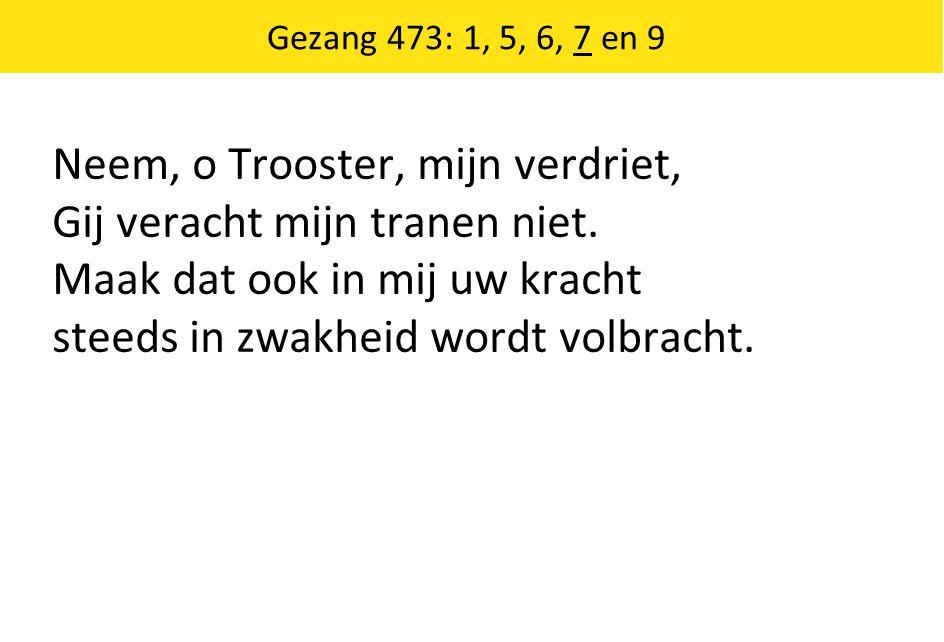 Gezang 473: 1, 5, 6, 7 en 9 Neem, o Trooster, mijn verdriet, Gij veracht mijn tranen niet.