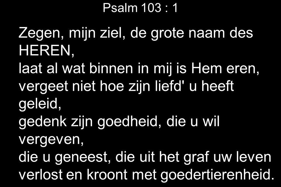 Psalm 103 : 1 Zegen, mijn ziel, de grote naam des HEREN, laat al wat binnen in mij is Hem eren, vergeet niet hoe zijn liefd' u heeft geleid, gedenk zi