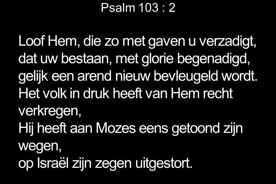 Psalm 103 : 2 Loof Hem, die zo met gaven u verzadigt, dat uw bestaan, met glorie begenadigd, gelijk een arend nieuw bevleugeld wordt. Het volk in druk