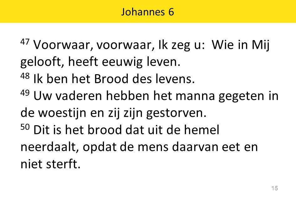 47 Voorwaar, voorwaar, Ik zeg u: Wie in Mij gelooft, heeft eeuwig leven. 48 Ik ben het Brood des levens. 49 Uw vaderen hebben het manna gegeten in de