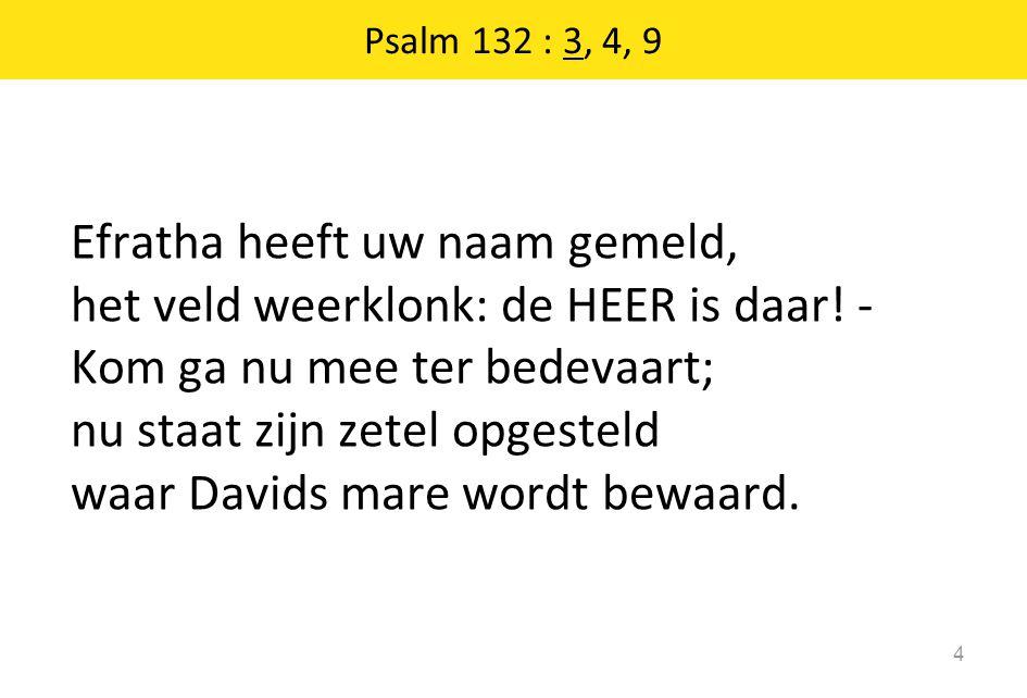 Psalm 132 : 3, 4, 9 Efratha heeft uw naam gemeld, het veld weerklonk: de HEER is daar! - Kom ga nu mee ter bedevaart; nu staat zijn zetel opgesteld wa