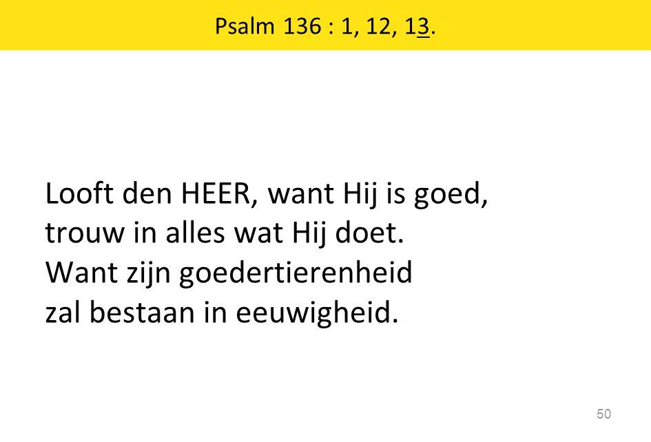 Looft den HEER, want Hij is goed, trouw in alles wat Hij doet. Want zijn goedertierenheid zal bestaan in eeuwigheid. 50 Psalm 136 : 1, 12, 13.
